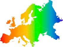 De kleuren vectorkaart van Europa Stock Afbeelding