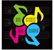 De kleurenachtergrond van de Muziek van nota's Stock Afbeeldingen