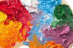 De kleurenachtergrond van kunstenaarsolieverven Royalty-vrije Stock Foto