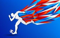 De kleurenachtergrond van Rusland van de voetbalvoetbalster stock illustratie