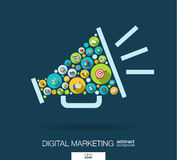 De kleurencirkels, vlakke pictogrammen in een spreker vormen voor digitale marketing, sociale media, netwerk, computerconcept Stock Foto