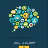 De kleurencirkels, vlakke pictogrammen in een toespraakbel vormen, technologie, sociale media, netwerk, computerconcept Royalty-vrije Stock Foto's