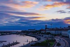 De kleurencityscape van Pontadelgada op Sao Miguel royalty-vrije stock afbeeldingen