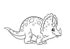 De kleurende pagina's van dinosaurustriceratops Stock Afbeelding