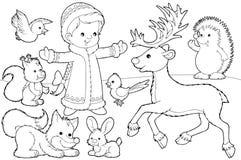 De kleurende pagina van Kerstmis Royalty-vrije Stock Foto's