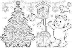 De kleurende pagina van Kerstmis Stock Foto