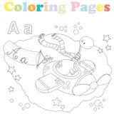 De kleurende pagina voor jonge geitjes, alfabetreeks, voorziet A van letters Stock Foto's