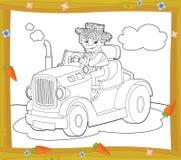 De kleurende plaat - landbouwbedrijfvoertuig - illustratie voor de kinderen Stock Foto