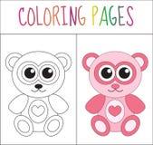 De kleurende teddybeer van de boekpagina Schets en kleurenversie het kleuren voor jonge geitjes Vector illustratie Royalty-vrije Stock Afbeelding