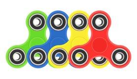 De kleurenhand friemelt geplaatste spinners Vector illustratie op witte achtergrond Royalty-vrije Stock Afbeelding