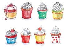 De kleurenhand trekt cupcakes Royalty-vrije Stock Afbeeldingen