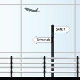 De kleurenillustratie van de luchthaven vectorkunst Royalty-vrije Stock Afbeeldingen