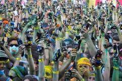 De Kleurenlooppas is een ontvangen pretrace wereldwijd Stock Foto's