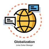 De Kleurenpictogram van de globaliseringslijn stock illustratie