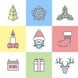 De kleurenpictogrammen van het Kerstmisoverzicht royalty-vrije illustratie