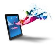 De kleurenplons van de tabletcomputer Stock Foto