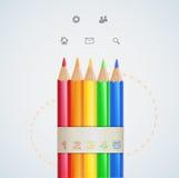De kleurenpotloden van het Infographicontwerp Royalty-vrije Stock Foto's