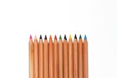 De kleurenpotlood van de rij Royalty-vrije Stock Foto's