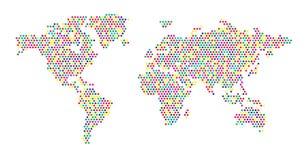 De kleurenpunten van de wereldkaart Stock Afbeelding