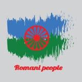 De kleurenvlag van de borstelstijl van Romani-mensen met de mensen van tekstromani royalty-vrije illustratie