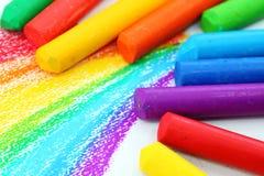 De Kleurpotloden van de Pastelkleur van de olie Stock Foto's
