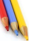 De kleurpotloden van het potlood, rood, blauw geel primair portret Royalty-vrije Stock Fotografie