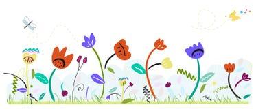 De kleurrijke abstracte leuke bloemen van de de lentetijd De bloemenachtergrond van de lente Stock Afbeeldingen