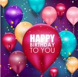 De kleurrijke achtergrond van de ballons Gelukkige Verjaardag royalty-vrije illustratie