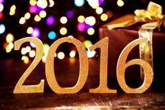 De kleurrijke achtergrond van de 2016 Nieuwjaarpartij Stock Foto