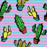 De kleurrijke achtergrond van het in cactuspatroon Veelkleurige naadloze hipster punchy pastelkleuren vector illustratie