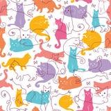 De kleurrijke Achtergrond van het Katten Naadloze Patroon Stock Afbeeldingen