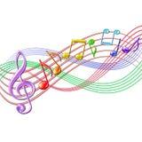 De kleurrijke achtergrond van het muzieknotenpersoneel op wit. Stock Foto's