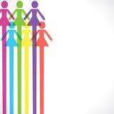 De kleurrijke achtergrond van het vrouwenpictogram Stock Foto's
