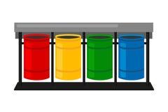 De kleurrijke bakken van het beeldverhaal sorterende afval royalty-vrije illustratie