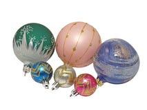 De kleurrijke ballen van Kerstmis. Geïsoleerdl. Stock Afbeeldingen