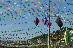 De kleurrijke ballons en vlaggenpartij van het land stock foto's