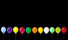De kleurrijke Ballons van de Partij op Zwarte royalty-vrije illustratie