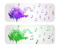 De kleurrijke Banner van de Gitaar en van de Muziek Stock Foto