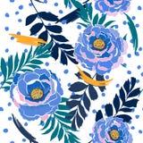 De kleurrijke bloeiende Wilde bloemen van het pastelkleur naadloze patroon in velen vector illustratie