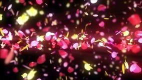 De kleurrijke bloemblaadjes vallen De achtergrond van de Bloem van de lente Lijnanimatie Vrij glanzende bloemblaadjes van bloesem vector illustratie