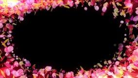De kleurrijke bloemblaadjes vallen De achtergrond van de Bloem van de lente Lijnanimatie Vrij glanzende bloemblaadjes van bloesem stock video