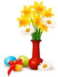 De kleurrijke bloemen van de lente in een vaas met Paaseieren royalty-vrije illustratie