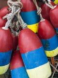 De kleurrijke Boeien van de Zeekreeft Stock Foto