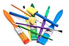 De kleurrijke Borstels van de Verf Royalty-vrije Stock Afbeeldingen
