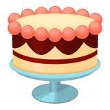De kleurrijke cake van de beeldverhaalverjaardag op tribune Stock Afbeelding