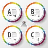 De kleurrijke cirkels van het Infographicontwerp op de grijze achtergrond Vector illustratie Stock Afbeelding