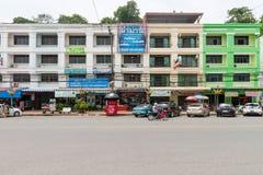 De kleurrijke, commerciële bouw complex in centrale Krabi-stad, Tha Royalty-vrije Stock Foto's