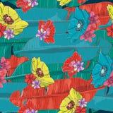 De kleurrijke, creatieve Hawaiiaanse exotische vector van het bladeren naadloze patroon Stock Fotografie