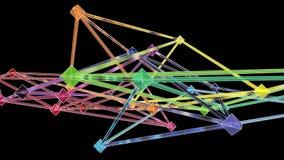 De kleurrijke 3d Verbonden Evoluerende Lijn van de Octaëderstructuur stock footage