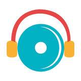 de kleurrijke de grafische disco en hoofdtelefoons van DJ, Royalty-vrije Stock Foto's